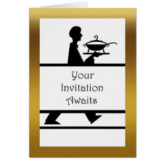 Formal Dinner Invitation, Server with Soup Tureen Greeting Card
