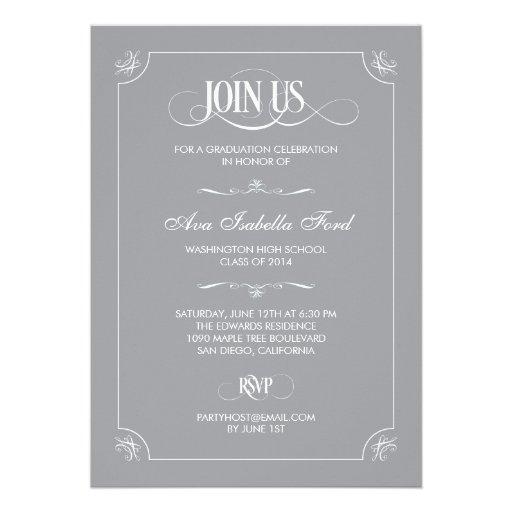 Formal Elegance Graduation Invitation - Gray Invitation