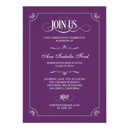 Formal Elegance Graduation Invitation - Purple Announcement