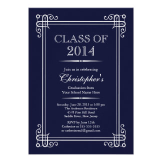 Formal Elegant Class of 2014 Graduation Party Personalized Invites