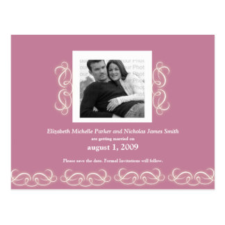 Formal Elegant Floral Save the Date Pink and White Postcard
