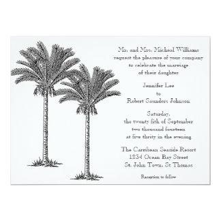 Formal Elegant Palm Tree Tropical Island Wedding 17 Cm X 22 Cm Invitation Card