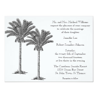 Formal Elegant Palm Tree Tropical Island Wedding Card