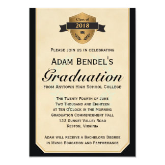 Formal Faux Parchment Graduation Announcements