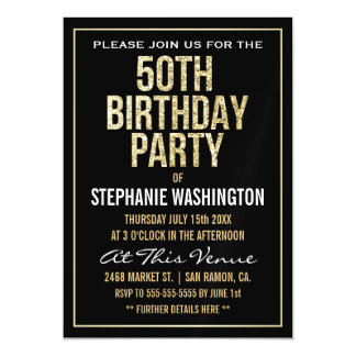 Formal Gold and Black 50th Birthday Party Magnetic Invitations