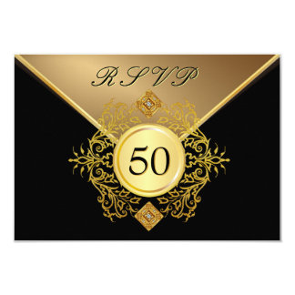 Formal Gold Black 50th Birthday Anniversary RSVP Card