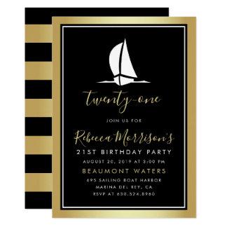Formal Gold Black & White Sailing Boat Birthday Card