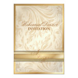 Formal  gold Damask Rehearsal Dinner  Invitation 13 Cm X 18 Cm Invitation Card