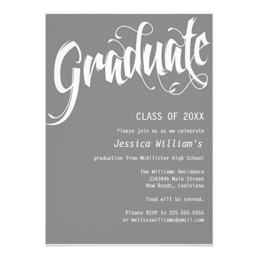 Formal Graduation Party Custom Invitations