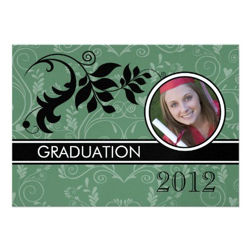 Formal Green Photo Graduation Announcements