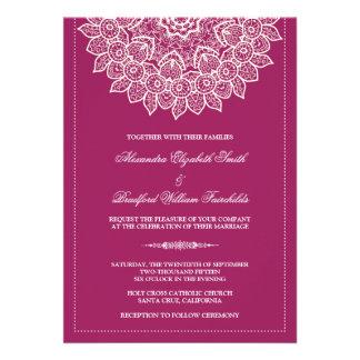 Formal Lace Doily Wedding Invitation (fuchsia)