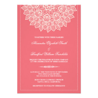 Formal Lace Doily Wedding Invitation (rose)