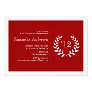 Formal Laurel Graduation Invitation - Red