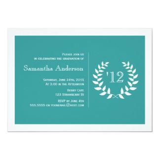 Formal Laurel Graduation Invitation - Teal