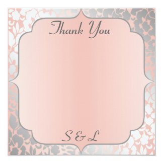 Formal Metallic Peach Floral Thank You Card / Note 13 Cm X 13 Cm Square Invitation Card