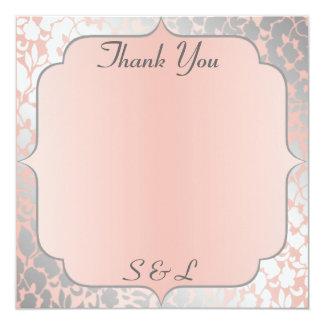 Formal Metallic Peach Floral Thank You Card / Note 13 Cm X 13 Cm Square Invitation Card