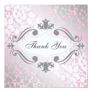 Formal Metallic Pink Floral Thank You Card / Note 13 Cm X 13 Cm Square Invitation Card