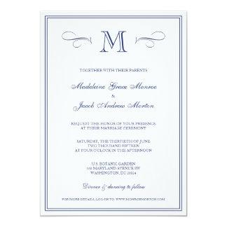 Formal Monogram | Dark Blue Wedding Card