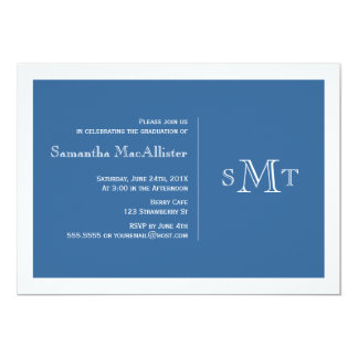 Formal Monogram Graduation Invitation - Blue