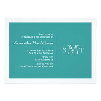 Formal Monogram Graduation Invitation - Teal