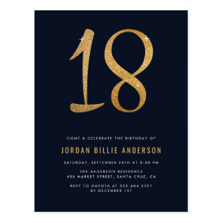 Formal Navy & Gold 18th Birthday Party Invitation Postcard