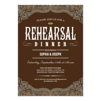 Formal Paisley Rehearsal Dinner Invitations