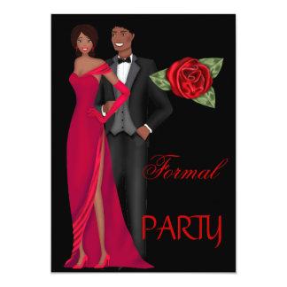 Formal Party Gold Black Red Dress Black tie 13 Cm X 18 Cm Invitation Card