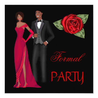 Formal Party Gold Black Red Dress Black tie Card