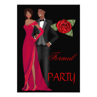 Formal Party Gold Black Red Dress Black tie Invite