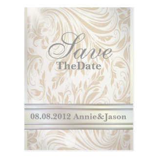 Formal Pearl White Damask Wedding save the date Postcard