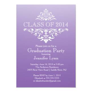 "Formal Purple Elegant Flourish Graduation Party 5"" X 7"" Invitation Card"