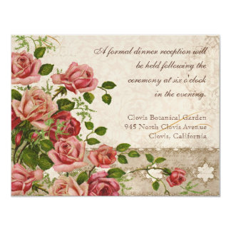 Formal Reception Invitation Tea Rose Lace Vintage