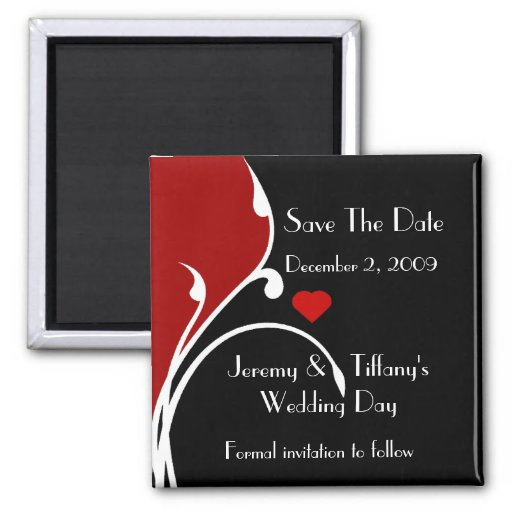 Formal Red and Black Save the Date Magnet