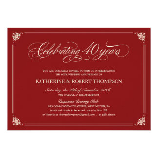 Formal Ruby 40th Anniversary Invitations