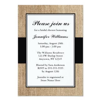 Formal Rustic Burlap Black Bridal Shower 13 Cm X 18 Cm Invitation Card
