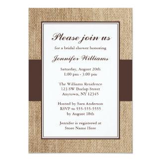 Formal Rustic Burlap Brown Bridal Shower Card