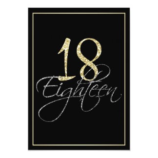 Formal Silver Black and Gold 18th Birthday Party 13 Cm X 18 Cm Invitation Card