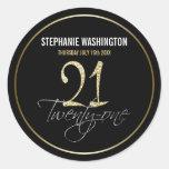 Formal Silver, Black & Gold 21st Birthday Party Round Sticker