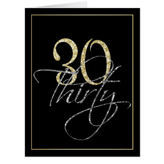 Formal Silver, Black & Gold 30th Birthday Party Card
