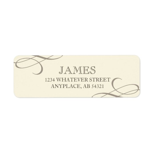 Formal Swirl Off-White Beige Return Address Label