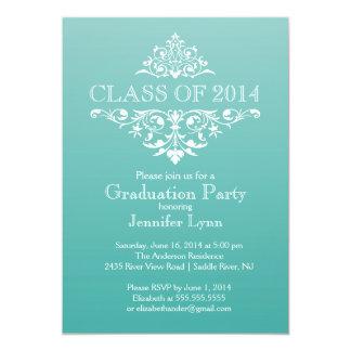 Formal Teal Elegant Flourish Graduation Party 5x7 Paper Invitation Card