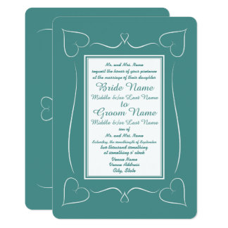 Formal Teal Wedding Heart Monogram Invitations