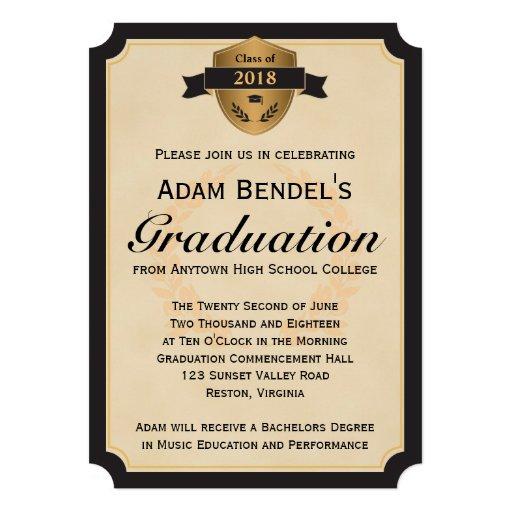 Formal Ticket Parchment Graduation Announcements