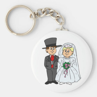 Formal Wedding Style Tophats Basic Round Button Key Ring
