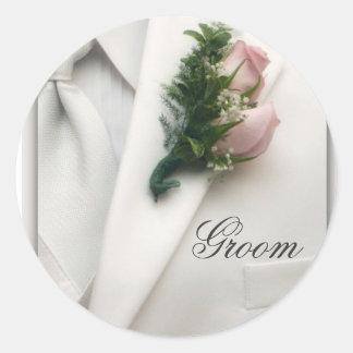 Formal White Tuxedo Round Sticker