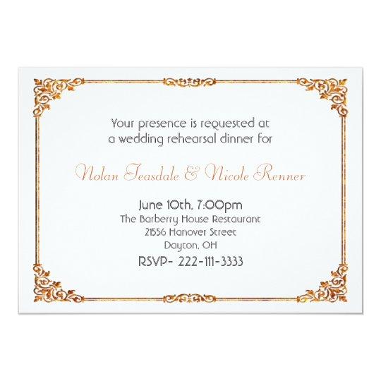 Formal White Wedding Rehearsal Dinner Invitation