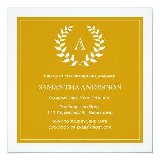 Formal Wreath Graduation Invitation - Gold