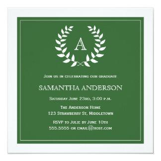 Formal Wreath Graduation Invitation - Green