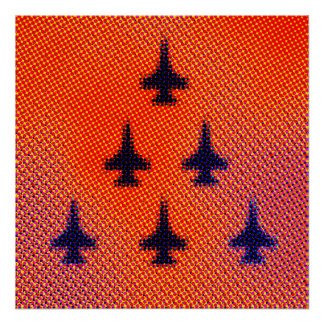 Formation of F16s in Orange. Pop Art Poster