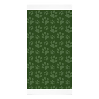 Forrest green dog paw print pattern photo cards